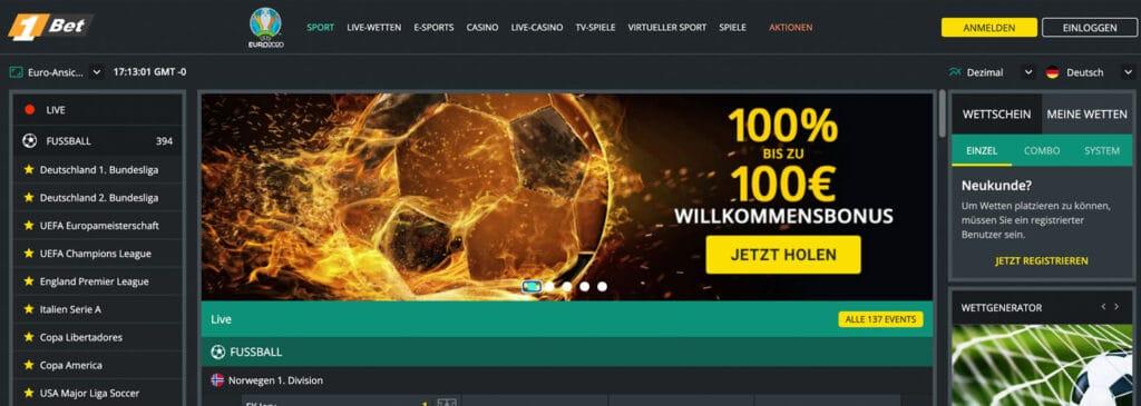 1Bet Sportwetten Bonus