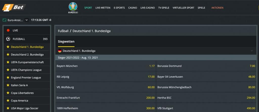 1Bet Bundesliga Wetten