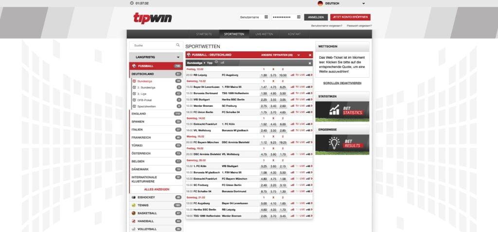 Tipwin Bundesliga Wetten