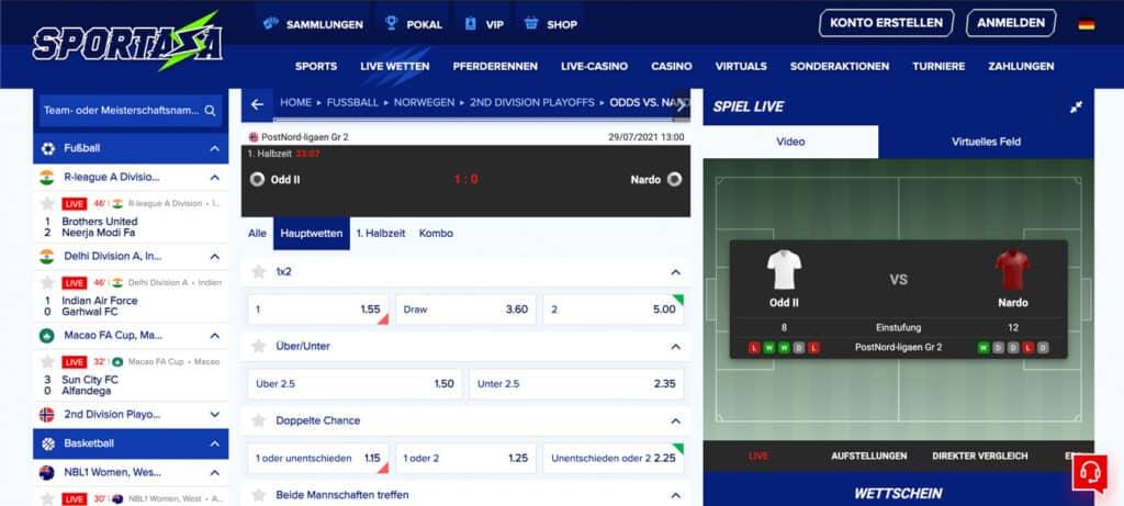 Sportaza Live Wetten